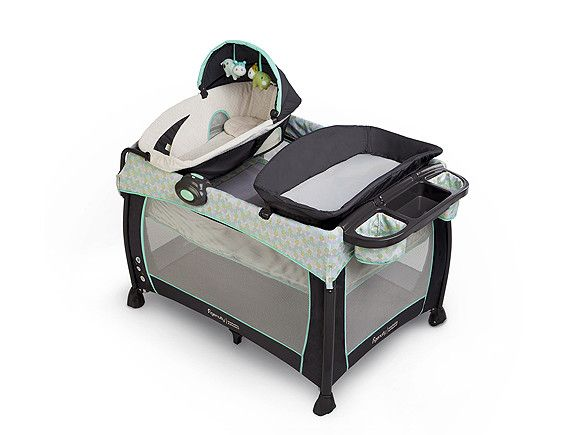 Most Bang for Your Buck Think of this as a portable nursery: attach a Dream Center bassinet (with optional toys), a changing table and an organizing tray right on top, and baby is set wherever he is. Other added conveniences include the washable fabric that unzips easily for laundering. What we love: The sound station (five melodies and three natural sounds) is an added sleep aid for baby Buy it: $180, Toysrus.com