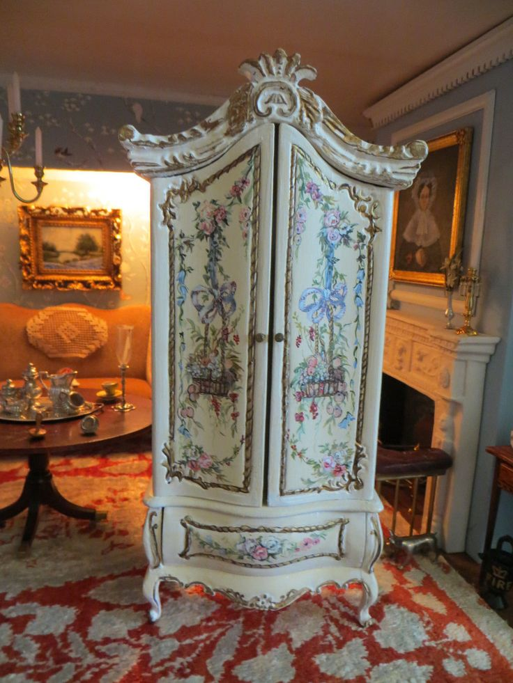 DOLLHOUSE MINIATURE SIGNED IGMA BLUETTE MELONEY BEAUTIFUL HAND PAINTED ARMOIRE | eBay