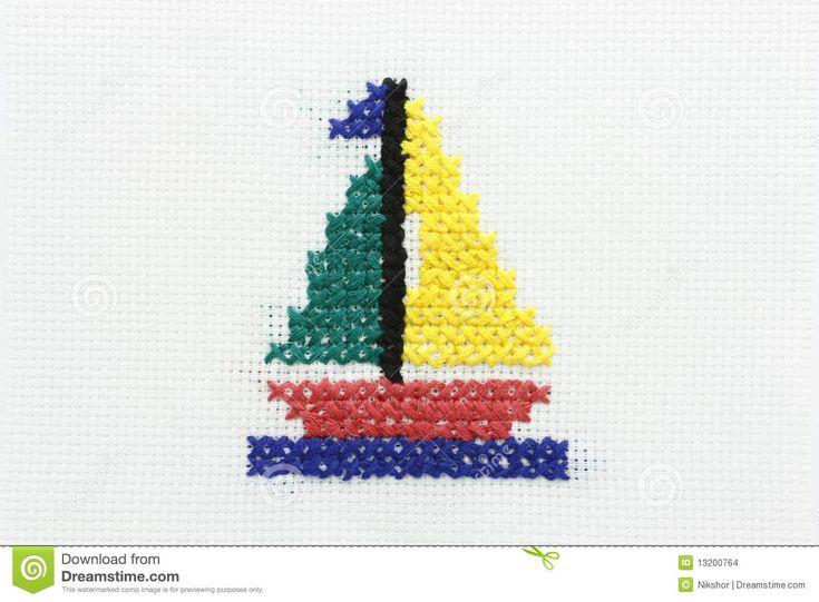 Bordado De La Imagen De Un Barco Con Una Vela. Imagenes de archivo - Imagen: 13200764