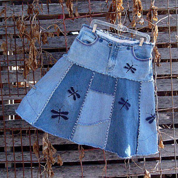 Dragonfly Jean Skirt  Upcycled Dragonfly Dance by DenimDiva2day, $75.00