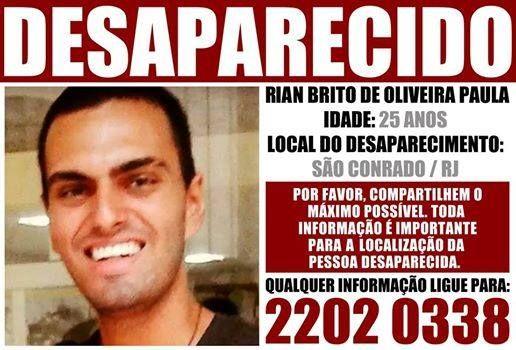 Rian Brito, neto do humorista Chico Anysio está desaparecido