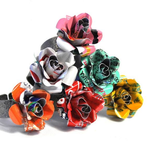 Recycled Jewelry Coke Rose Ring From Upcycled Aluminum by wearwolf, $15.00