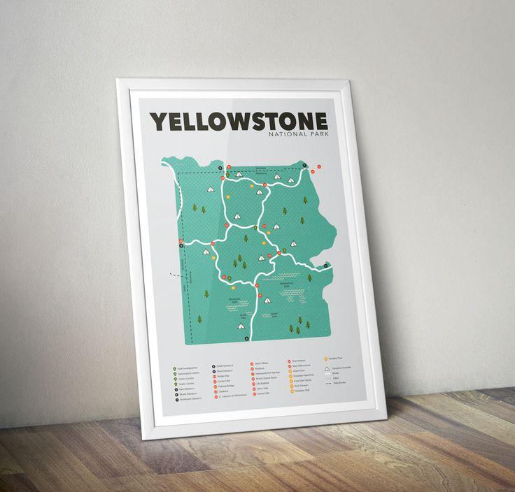 Yellowstone National Park Map, Yellowstone National Park Print