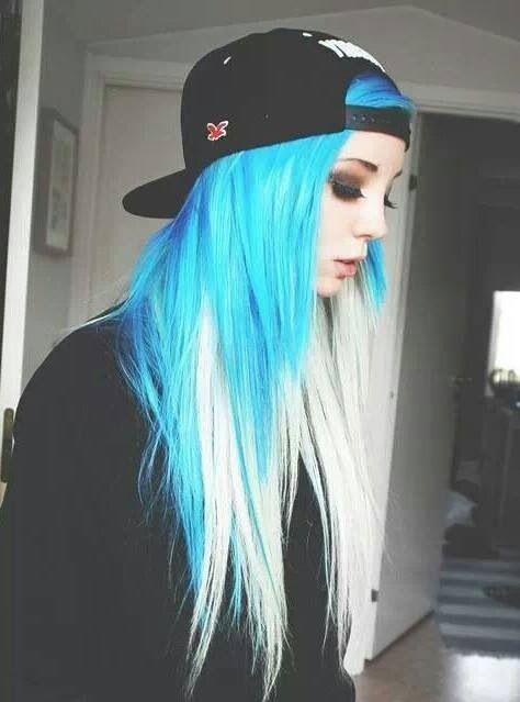 Blue and white hair