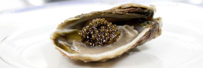 oysters & Iranian caviar,  this type of caviar is as good as Russian beluga caviar.