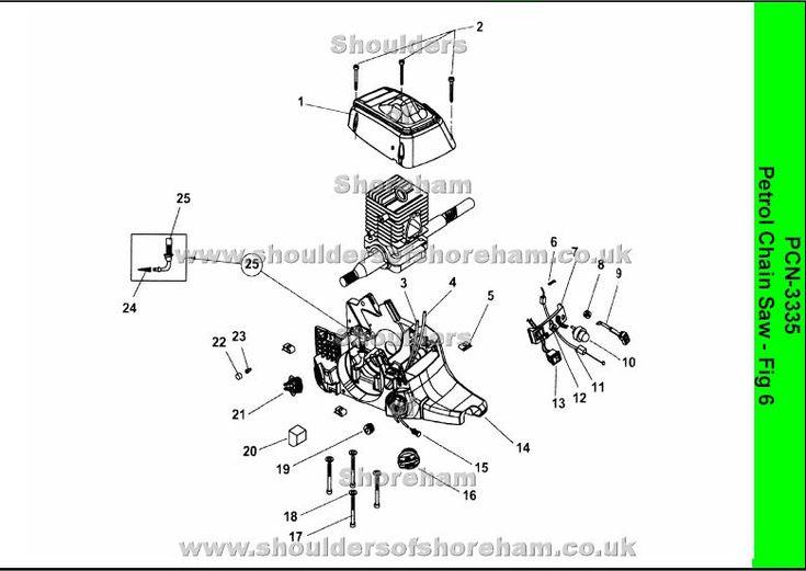 Ryobi PCN3335 Petrol chainsaw spares diagrams