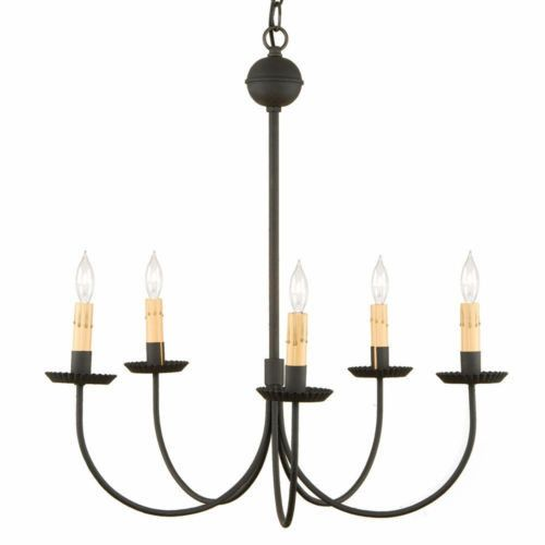 WROUGHT IRON CHANDELIER Handcrafted Primitive 5 Arm Hanging Colonial Ceiling Light Fixture Made in USA