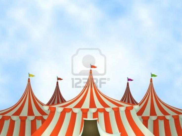 Illustratie van cartoon circus tenten op een blauwe hemel achtergrond Stockfoto - 14116390