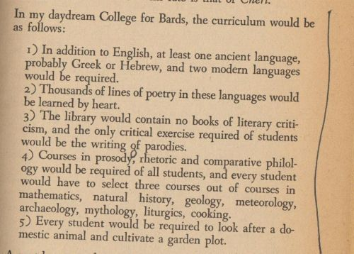The ideal 'College for Bards' as daydreamed by W.H. Auden.