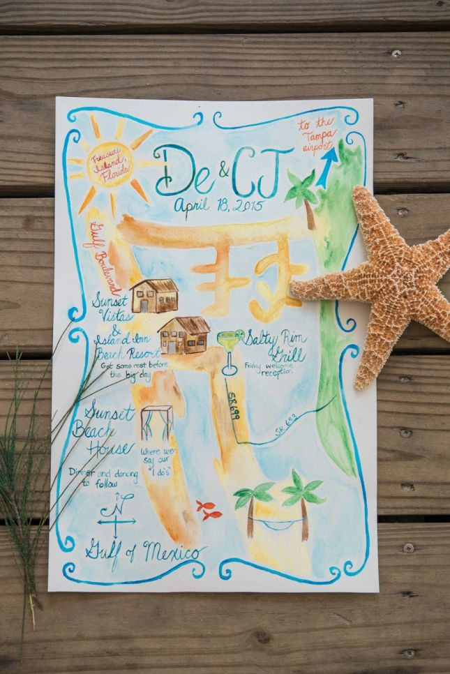 wedding reception directions card%0A Coral Sunset Beach House Treasure Island Wedding   See more at http   www