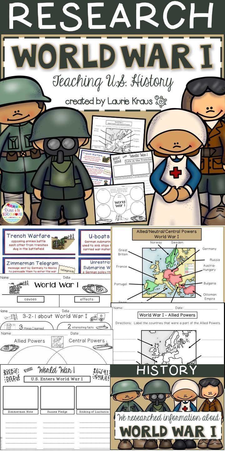 Students will learn and research about World War I. Graphic organizers will help students organize information that they learn about the causes and effects of the war. Maps are provided for students to identify the Allied Powers, Central Powers, and neutr