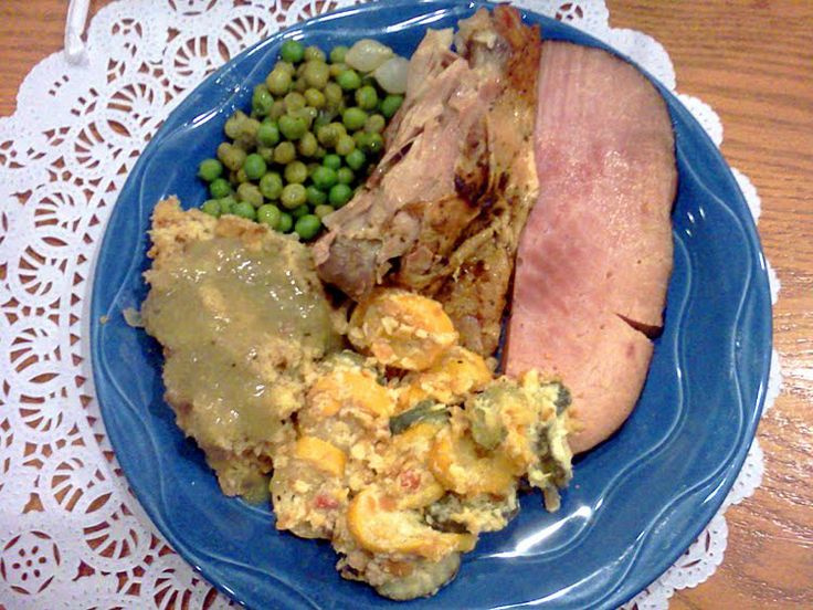 Turkey and dressing with ham squash casserole and peas. From the former Paula Deen Buffet at Harrah's Tunica Casino in Robinsonville, MS.