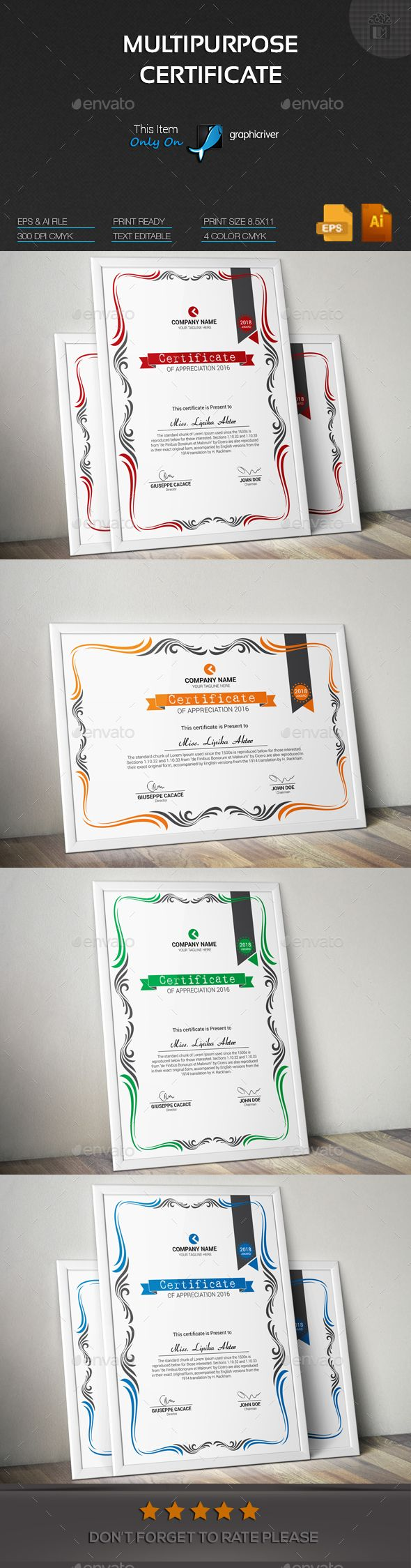 Multipurpose Certificate Design Template - Certificates Stationery Design Template Vector EPS, AI Illustrator. Download here: https://graphicriver.net/item/multipurpose-certificate/19214790?ref=yinkira