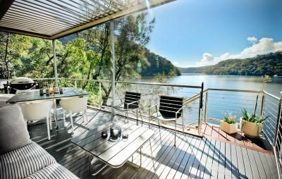 Calabash Bay Lodge Berowra Waters Hawkesbury. The splurge option, four bedroom waterfront lodge is accessed only by boat. Explore the river vin a4.5m runabout moored at your private pontoon or in twin kayaks. $1800 for three night weekend packages.