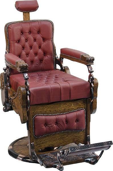 Heavily Carved Oak Koken Barber Chair