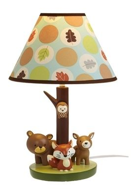 Brown and green nursery lamp with a little bit of orange ... Cute!! :-)