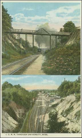 Color postcard. I.C.R.R. Through University, Miss., Published by University Store, University, Miss. Circa 1920.
