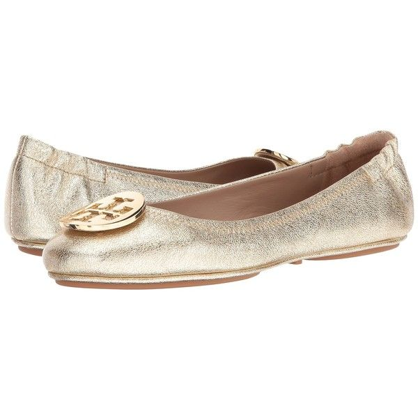 Tory Burch Minnie Travel Ballet (Spark Gold) Women's Shoes ($225) ❤ liked on Polyvore featuring shoes, flats, slip resistant shoes, sparkly ballet flats, tory burch flats, ballet flats and gold shoes