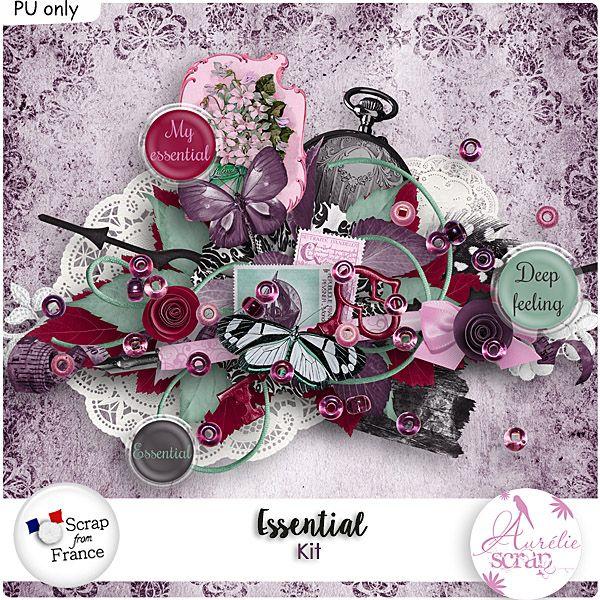 """Kit """"Essential"""" by Aurélie Scrap.  Il contient : 10 papiers 55 éléments"""