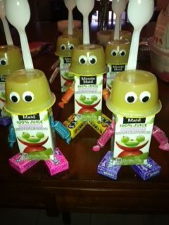 Robot snack It was a good alternative to cupcakes or cookies for a birthday snack :) I have found that if you want kids to get excited aboutk something, just put googley eyes on them! :) Materials Needed: Individual applesauce containers Individual juice boxes mini raisin packs (you could also use nerd packs) Tootsie rolls Plastic spoons Googley eyes Just hot glue it all together.