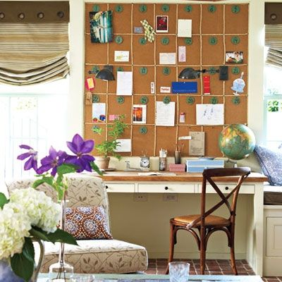Cover an entire wall in cork tiles or chalkboard paint to make a bold—and functional— design statement.