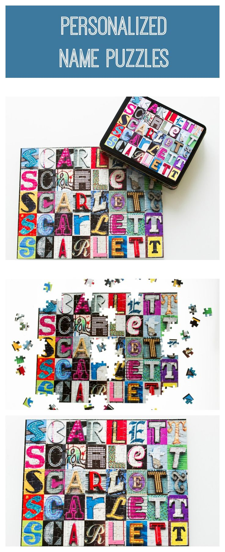 Personalized name jigsaw puzzles with ANY NAME in photos