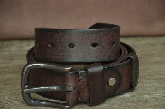 Men Belt Cowhide Belt Distressed Belt Brown Genuine Leather Belt Classic Belt Strap by SherryJewelry, $25.00