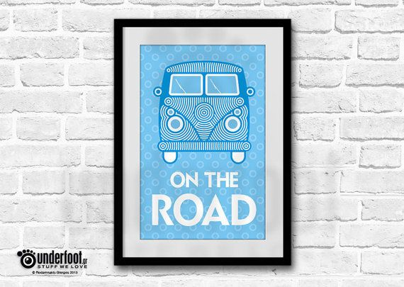 Perfect gift for VW lovers  Dimensions: A3 (29,7 X 42cm) Professional high quality paper print. Matt or glossy lamination. Frame not included  * Colors may vary slightly from your monitor. *All artwork is original and may not be reproduced without permission. * © - underfoot.gr