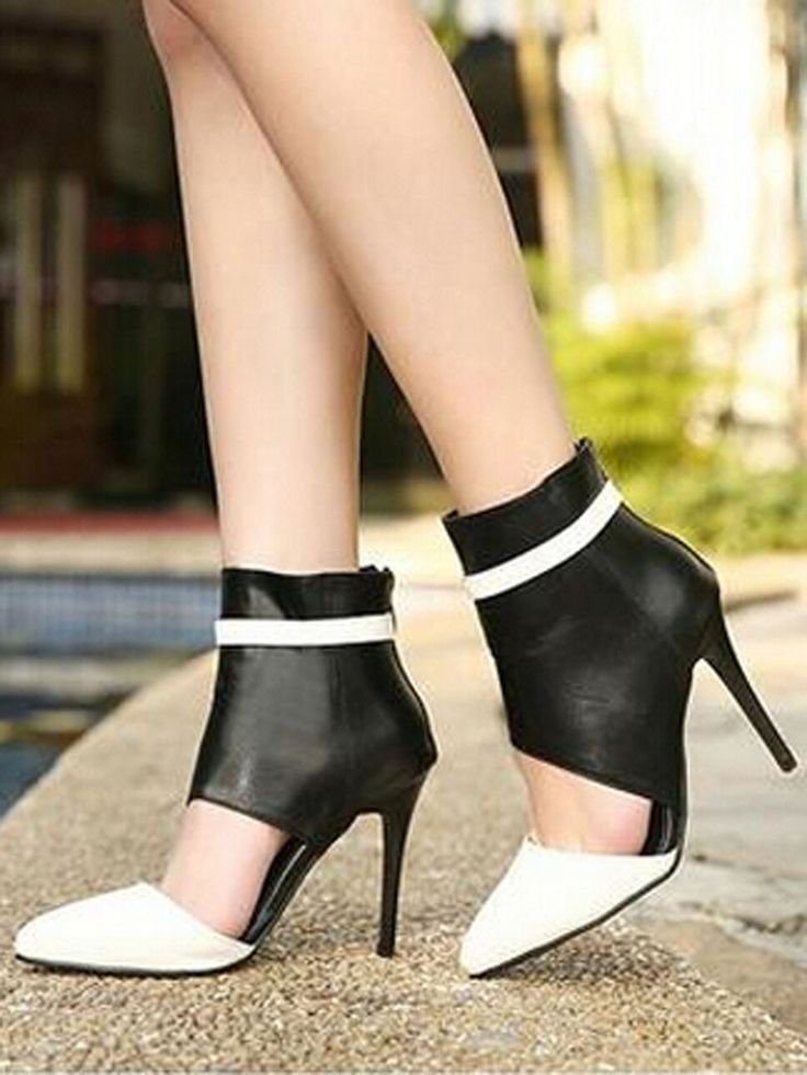 White Contrast Cut Out Pointed Heeled Sandal Boots