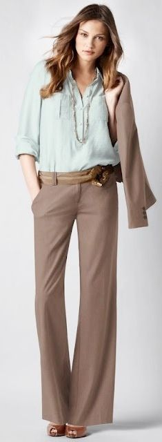 Outfit Posts: outfit post: mint tank, tan pants, brown peep-toed pumps
