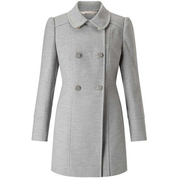 Miss Selfridge PETITE Grey Pea Coat found on Polyvore featuring outerwear, coats, mid grey, petite, peacoat coat, petite coats, grey peacoat, miss selfridge coats and grey pea coat