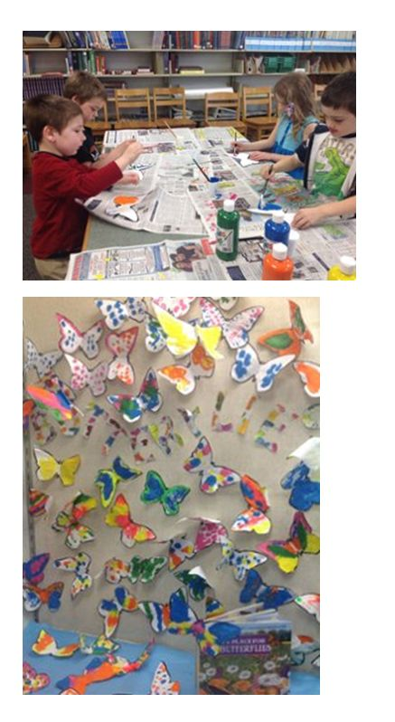 Students at Pollard School in Plaistow, NH, making butterflies with symmetrical wings in preparation for my school visit.