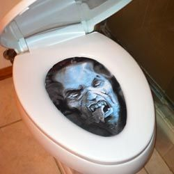 omg this is so funny just get out a life size face and flip up the toilet seat and put it on the under side and when the next person goes to use the bathroom there gonna get a big fright!