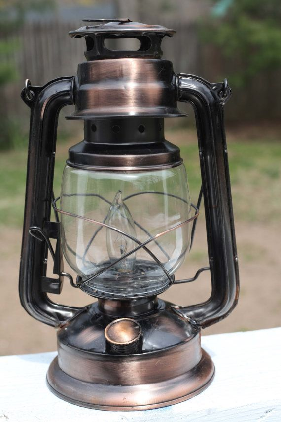 Electric Hurricane Lantern Rustic COPPER by MikeMBurkeDesigns, $39.95