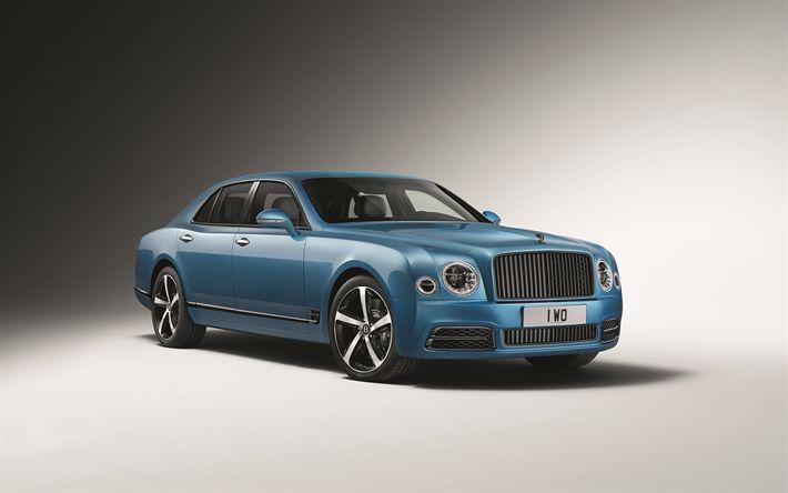 Indir duvar kağıdı 4k, Bentley Mulsanne Speed Tasarım, 2018 arabalar, lüks arabalar, mavi Mulsanne, Mulsanne
