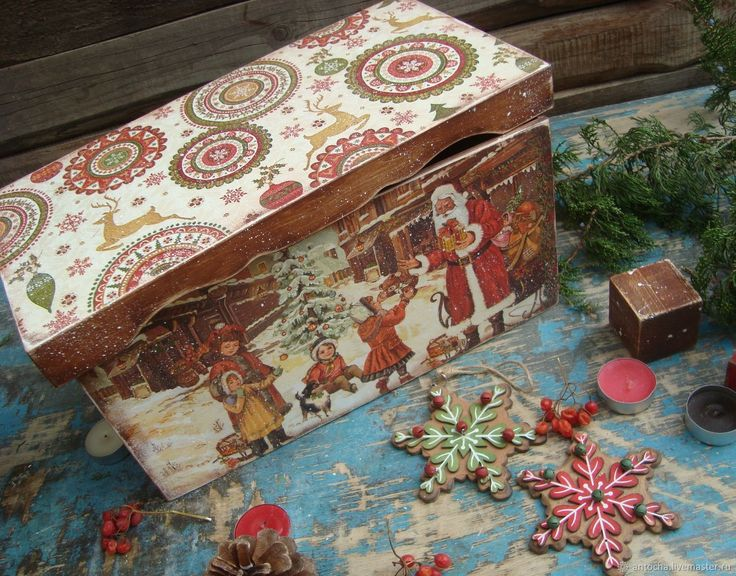 """Купить """"Рождественские подарки"""" короб для игрушек - Новый Год, елка, ретро, винтаж, короб"""
