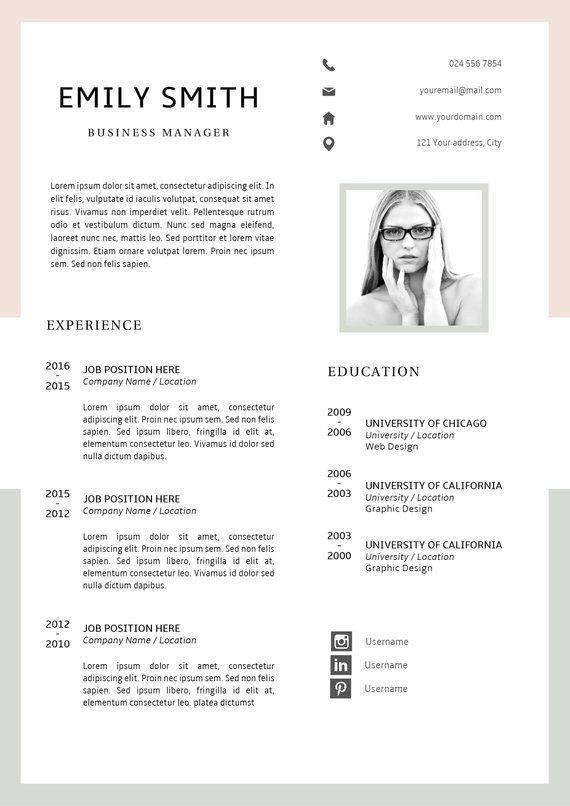Modern Resume Template Cv Template Cover Letter Creative Resume Ideas Resume Minimalist Resume Instant Download Easy Resume Thiết Kế Cv