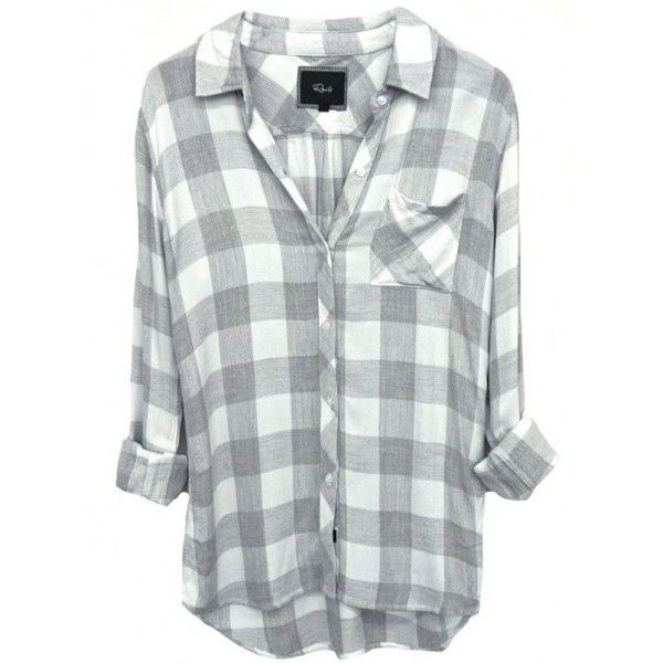 Rails Hunter Shirt In White/Grey Check ($137) ❤ liked on Polyvore featuring tops, shirts, long length shirts, gray shirt, grey shirt, checkered top and checkered shirt