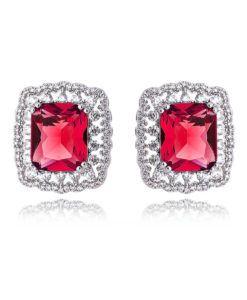 brinco para festa rubi com zirconias cristais e banho de rodio semi joias da moda