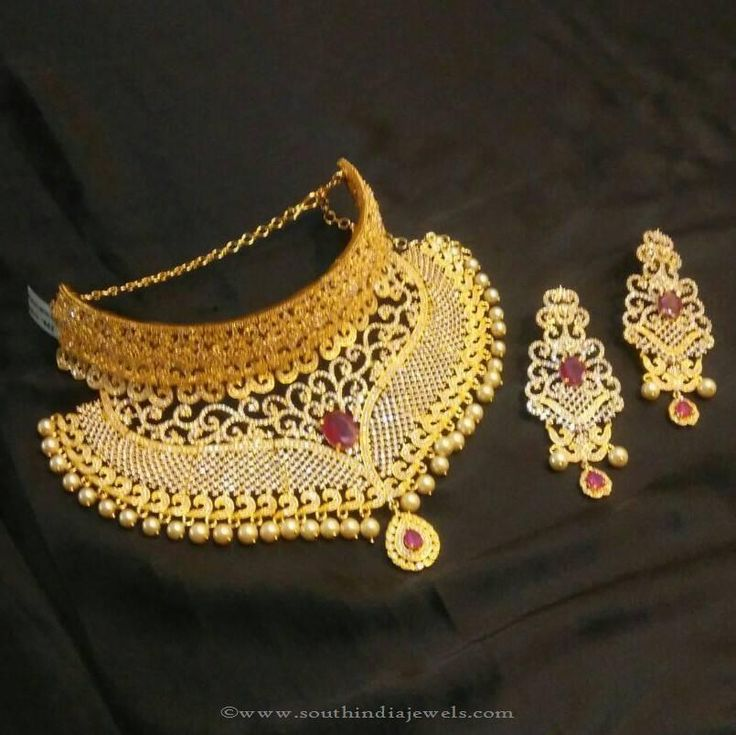 One Gram Gold Bridal Choker Necklace Designs, 1 Gram Gold Bridal Choker Necklace Designs.