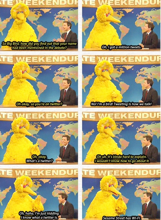 Big Bird visits Seth Meyers at the Weekend Update desk | Saturday Night Live | #SNL