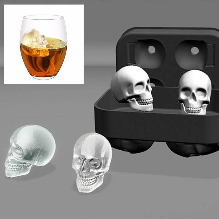 Novelty 3D Skull Head Ice Cube Mold Halloween Home Bar Silicone Skull Ice Cube Tray Biscuit Cake Chocolate Maker Moulds