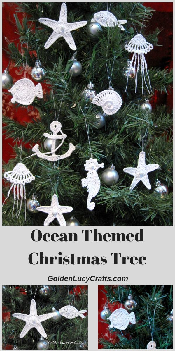 Ocean Themed Christmas Tree Goldenlucycrafts Christmas Tree Crafts Christmas Tree Themes Christmas Ornament Pattern