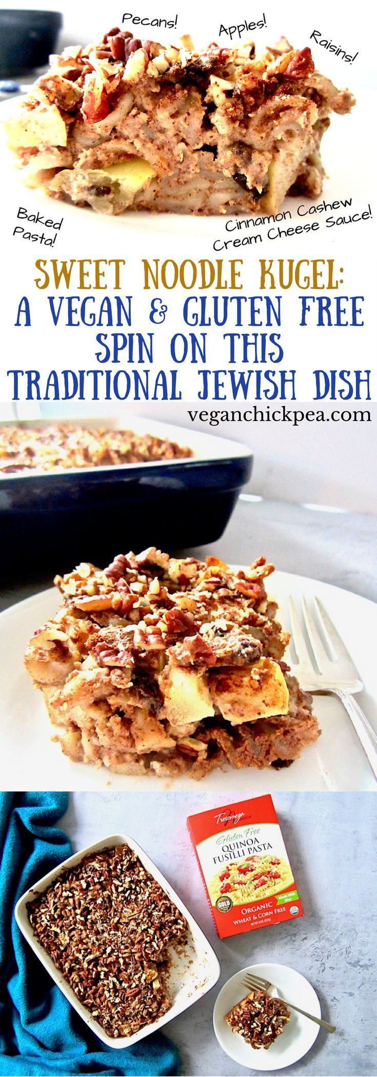 Sweet Noodle Kugel is a traditional Jewish dish, often served during Hanukkah, and now can be enjoyed by almost everyone with this gluten free, dairy free, vegan and refined sugar free version! With a creamy cinnamon cashew cream cheese sauce, apples, raisins, pecans and perfectly soft yet chewy noodles, you're going to love this unique and festive treat! #Tresomega #OrganicsForLife @tresomega #jewish #vegan #glutenfree #Kugel