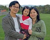 Lay Htoo with his wife and toddler daughter