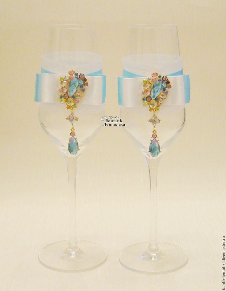 """Купить Свадебные бокалы """"Тиффани"""" - бирюзовый, свадебные бокалы, свадебные аксессуары, ленты атласные, свадьба"""