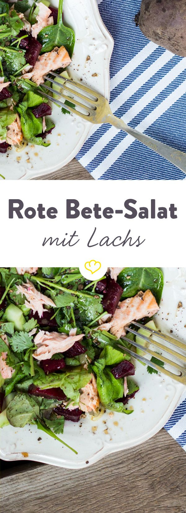 Zarter Lachs und süße Rote Bete in einem Salat vereint! Das schmeckt nicht nur fantastisch, sondern hält dich auch mit reichlich Vitaminen fit.