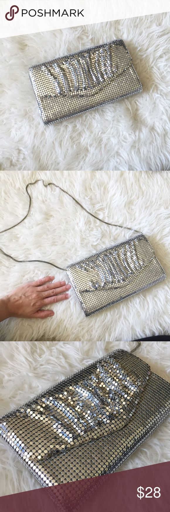 Vintage Chain Purse Silver Metallic Bag Clutch Vintage bag. So great for the holidays 🎁🎄 Strap can be tucked inside and used as a clutch. Vintage Bags Clutches & Wristlets