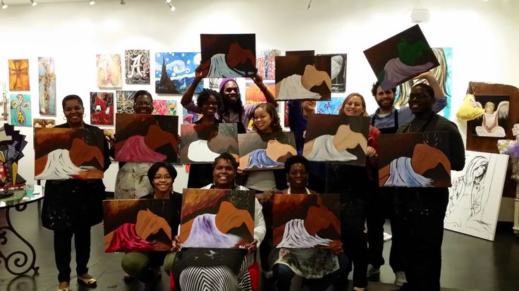 It was a full studio with some wonderful students at hwy 280 last night!  They all did an amazing job on their paintings!  This is a pic of our Birthday Girl and her friends who did great on their paintings!  Thank you everyone who joined me last night for class. -wendy Lovoy