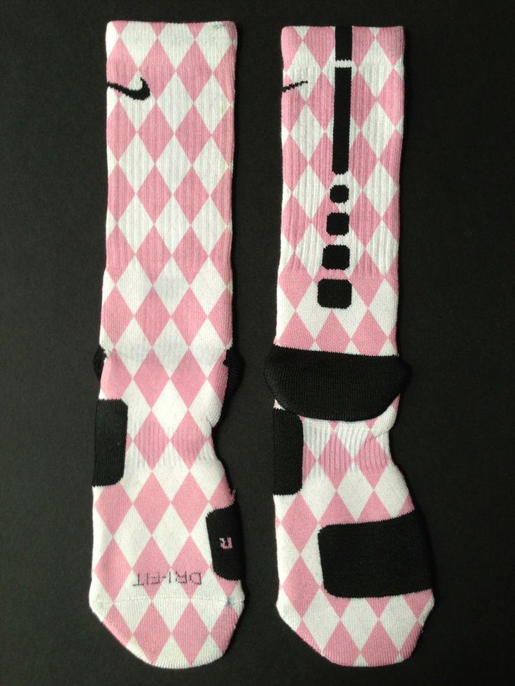 "Custom Nike Elite Sock ""Argyle Series"" - Pink"